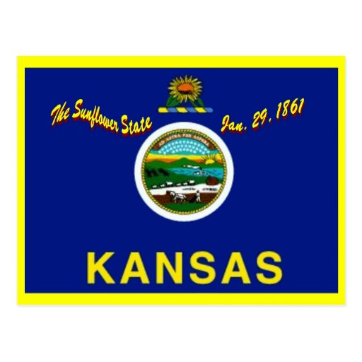 Postal de la bandera de Kansas