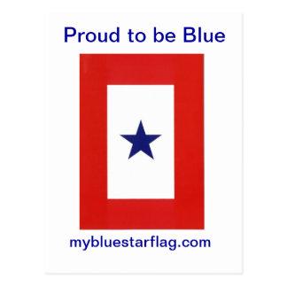 Postal de la bandera de la estrella azul