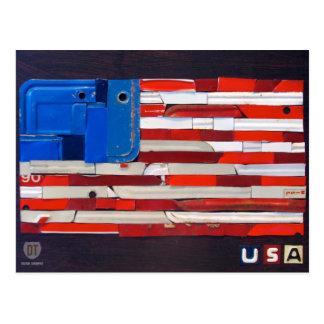 Postal de la bandera del arte de la placa de los E