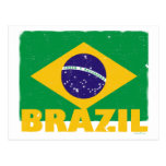 Postal de la bandera del Brasil del vintage