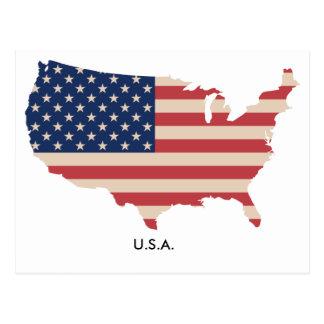 Postal de la bandera del mapa de los E.E.U.U.
