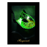 Postal de la bella arte del verde de la máscara de