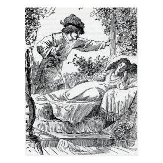 Postal de la bella durmiente del vintage