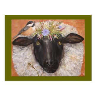 Postal de la belleza y de Chicky (ovejas y chickad