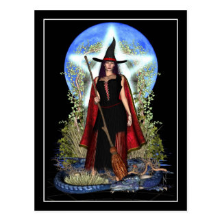 Postal de la bruja - bruja de la luna azul