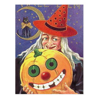 Postal de la bruja de Halloween del vintage del KR