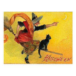 Postal de la bruja de Halloween del vintage