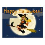 Postal de la bruja del feliz Halloween