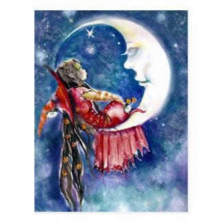 Postal de la bruja y de la luna