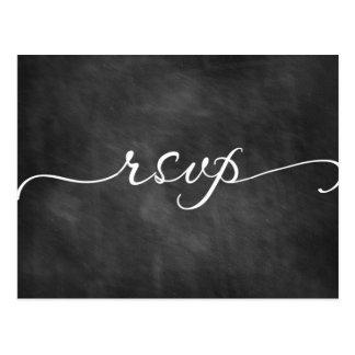 Postal de la caligrafía de la pizarra de RSVP