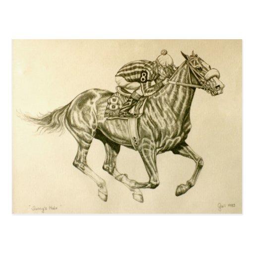 Postal de la carrera de caballos
