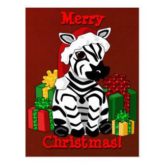 Postal de la cebra del navidad