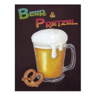 Postal de la cerveza y del pretzel