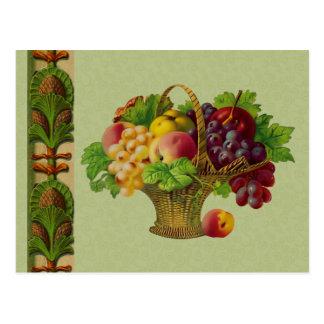 Postal de la cesta de fruta del arte del vintage