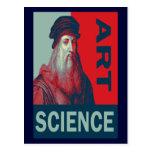 Postal de la ciencia del arte de da Vinci del homb
