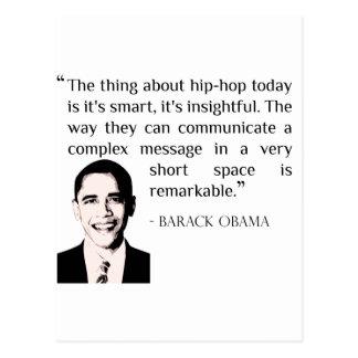 postal de la cita de Barack Obama del hip-hop