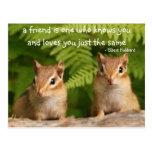 Postal de la cita de la amistad del Chipmunk del b