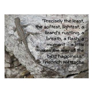 Postal de la cita de la felicidad de Friedrich Nie