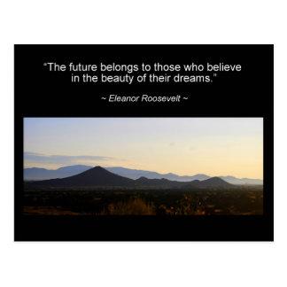 Postal de la cita de la inspiración de Eleanor Roo