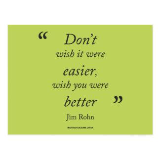 Postal de la cita de motivación de Jim Rohn