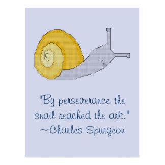 Postal de la cita de Perseverence del caracol de C