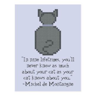 Postal de la cita del gato de Michel de Montaigne