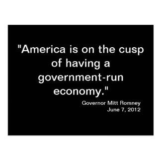 Postal de la cita del gobierno Mitt Romney