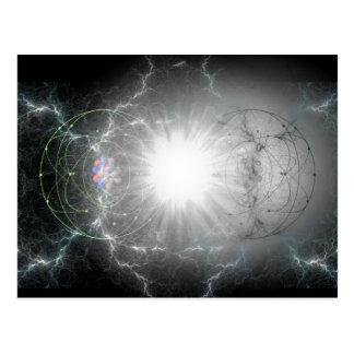postal de la colisión de la Materia-antimateria