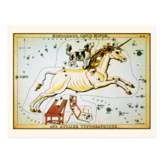 Postal de la constelación de la estrella del unico