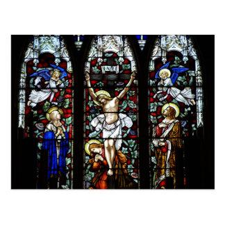 Postal de la crucifixión vitral