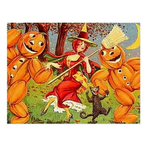 Postal de la danza de la bruja de Halloween del