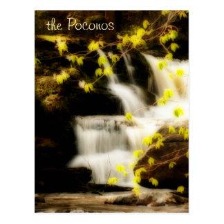 Postal de la escena de la cascada de la primavera