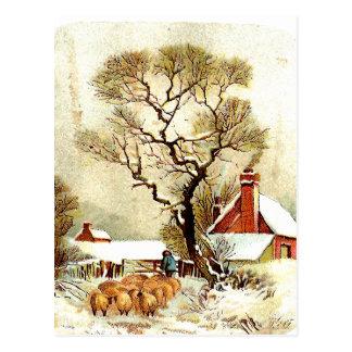 Postal de la escena del invierno del vintage