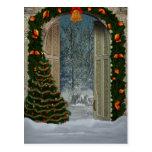 Postal de la escena del navidad del invierno