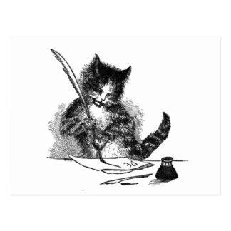 Postal de la escritura del gato del vintage