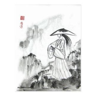 Postal de la espada del dibujo del samurai