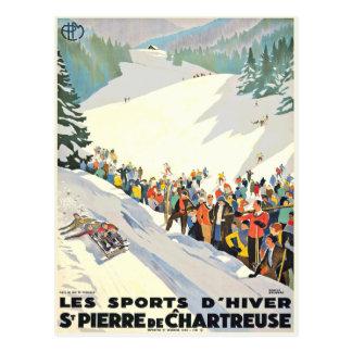 Postal de la estación de esquí del vintage de Suiz