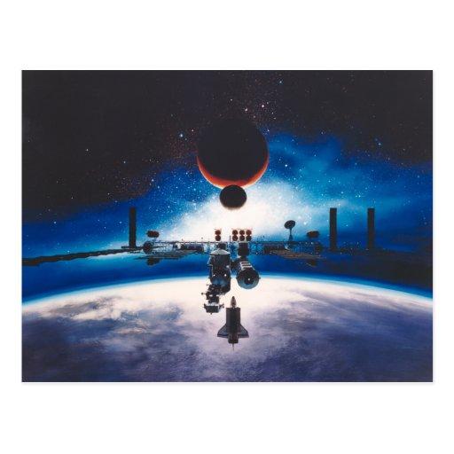 Postal de la estación espacial de la libertad