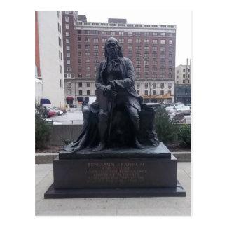 Postal de la estatua de Benjamin Franklin