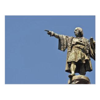 Postal de la estatua de Cristóbal Colón