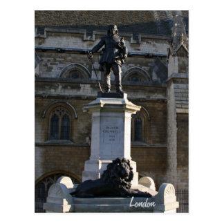 Postal de la estatua de Oliver Cromwell