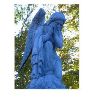 Postal de la estatua de Zink del ángel azul