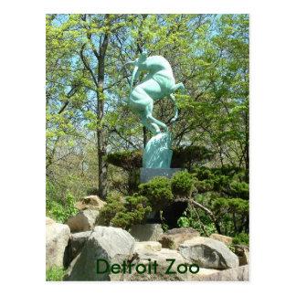 Postal de la estatua del parque zoológico de Detro
