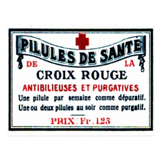 Postal de la etiqueta del colorete del vintage
