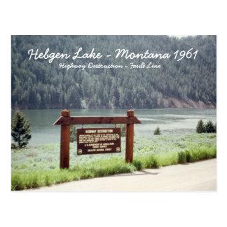 Postal de la falla del temblor de Montana 1961 del