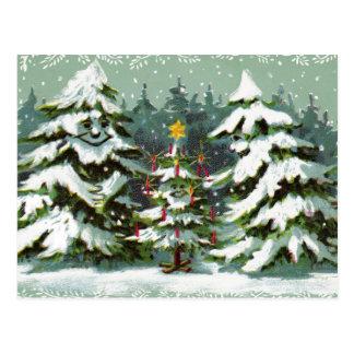 Postal de la familia del árbol de navidad