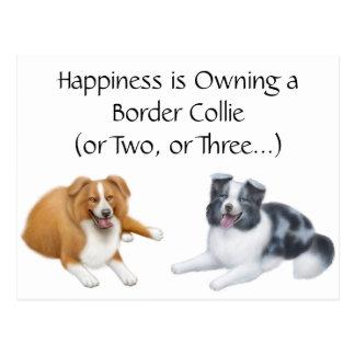 Postal de la felicidad del border collie