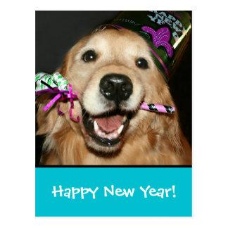 Postal de la Feliz Año Nuevo del golden retriever
