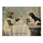 Postal de la fiesta del té del chica del Victorian