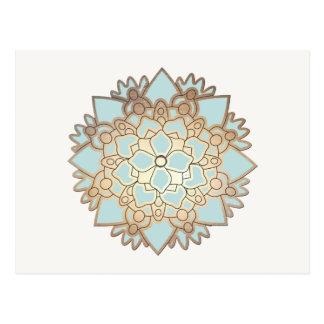 Postal de la flor de Lotus del azul y del oro